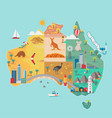map australia colorful landmarks vector image vector image