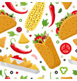 mexican food color seamless pattern vector image