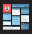 minimalist cv resume dashboard profile template vector image vector image