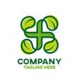 modern natural cross and pharmacy logo vector image