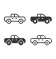 pickup truck icon in different variants line vector image