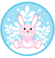 pink rabbit on a winter background vector image