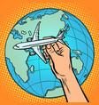 plane in hand metaphor flight to eastern vector image