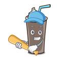 playing baseball ice chocolate character cartoon vector image vector image