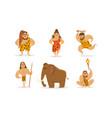 prehistoric stone age set primitive men and woman vector image vector image