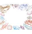 seafood fish and crabs backgrounds vector image vector image