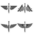 set emblems with medieval sword and wings vector image vector image