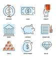 set money and value flat line icons vector image