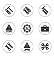 set of 9 editable tool icons includes symbols vector image vector image