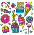 set of candies and sweets in doodle style vector image vector image