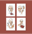 set portraits women with autumn leaves vector image vector image