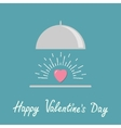 Silver platter cloche and pink shining heart Flat vector image vector image