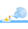 small man in paper boat vector image