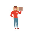 smiling delivery man holding box on his shoulder vector image vector image