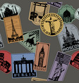 vintage paper color landmarks travel labels vector image vector image