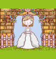 woman wedding with gown and brick wall vector image vector image