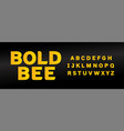 yellow bold bee font with capital letters set vector image vector image
