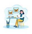 young girl is fond entomology vector image
