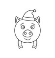 a pig in hat new year icon outline vector image vector image