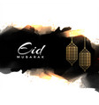 abstract eid mubarak greeting with hanging lamps vector image vector image