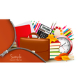 background with school supplies and open zipper vector image vector image