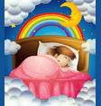 bedtime with girl sleeping in bed vector image vector image