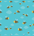 bees and clouds pattern