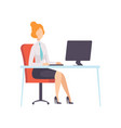 businesswoman working with computer office vector image vector image