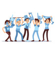cheering sports fans cartoon people vector image