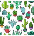 colorful seamless pattern of cactus vector image vector image