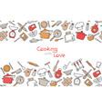 cooking flat horizontal seamless pattern vector image vector image