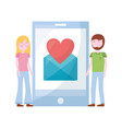 couple with smartphone and set icons vector image