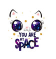cute cat face with space in eyes kawaii style vector image