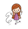 cute girl with ribbon character icon vector image