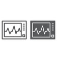 ecg machine line and glyph icon medicine s 10 vector image vector image