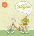 Enjoy Bicycle flower design background vector image vector image