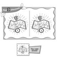 find 9 differences game travel map black vector image vector image