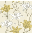 floral seamless pattern with lily vector image