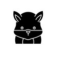 funny hamster black icon sign on isolated vector image