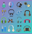 headphone icons set on white background vector image vector image