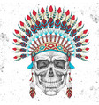 hipster skull with indian feather headdress vector image vector image