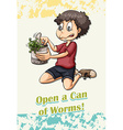 Idiom open a can of worms vector image vector image
