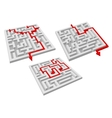 Labyrinth puzzles with arrow solutions vector image vector image