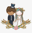 man and woman wedding with flowers plants leaves vector image vector image