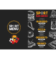 Menu sport bar restaurant food template placemat vector image