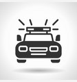 monochromatic police car icon with hovering vector image vector image