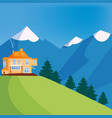 mountain landscape house on the mountain chalet vector image