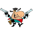 Outlaw Cowboy with two Guns vector image vector image