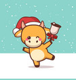 ox in santa hat holding bell happy chinese new vector image vector image