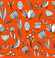pattern with tulips and birds vector image vector image